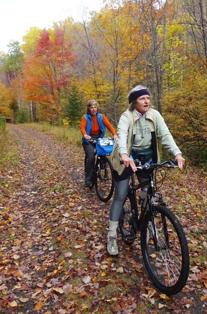 Nancy De Courcy and Nancy Greenlee explore for geocaches.October 2015